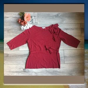 New York & Co Red, 3/4 Length Sleeve Top, Size L
